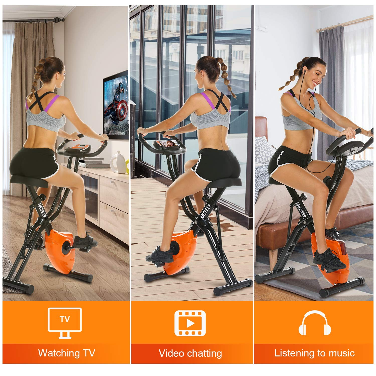 ANCHEER Folding Magnetic Exercise Bike, 10-Level Adjustable Stationary Bike - Tablet Stand & Large and Comfortable Seat by ANCHEER (Image #2)