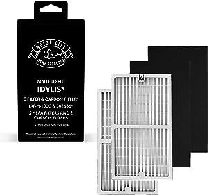 Idylis Bundle 2 Type C HEPA Air Purifier Filter Fits Idylis C, IAF-H-100C, 2 Idylis C Carbon Filter Fits Idylis C IAP-10-200, IAP-10-280 Motor City Home Products Brand Replacement