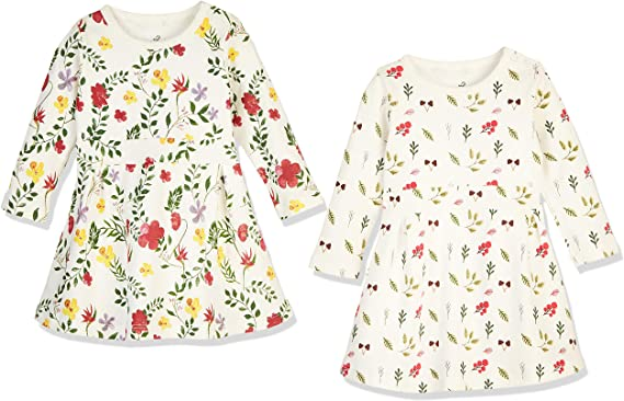 Zanie Kids Baby Girl/'s Dresses Short Sleeves//Long Sleeves Flower Print Outfit Organic Cotton Cute Baby Clothes 2-Pack