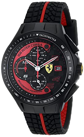 9b7f2557b Amazon.com: Ferrari Men's 0830077 Race Day Chronograph Black Rubber ...