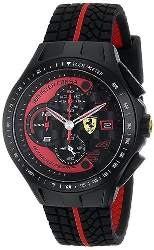 Ferrari Men\u0027s 0830077 Race Day Chronograph Black Rubber Strap Watch