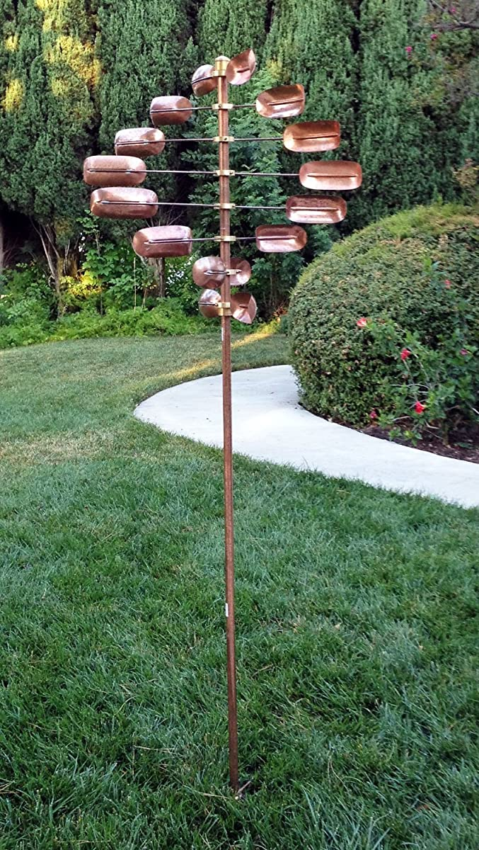 Stanwood Wind Sculpture CWS-06 Kinetic Lucky 8-Twirler Copper Wind Spinner