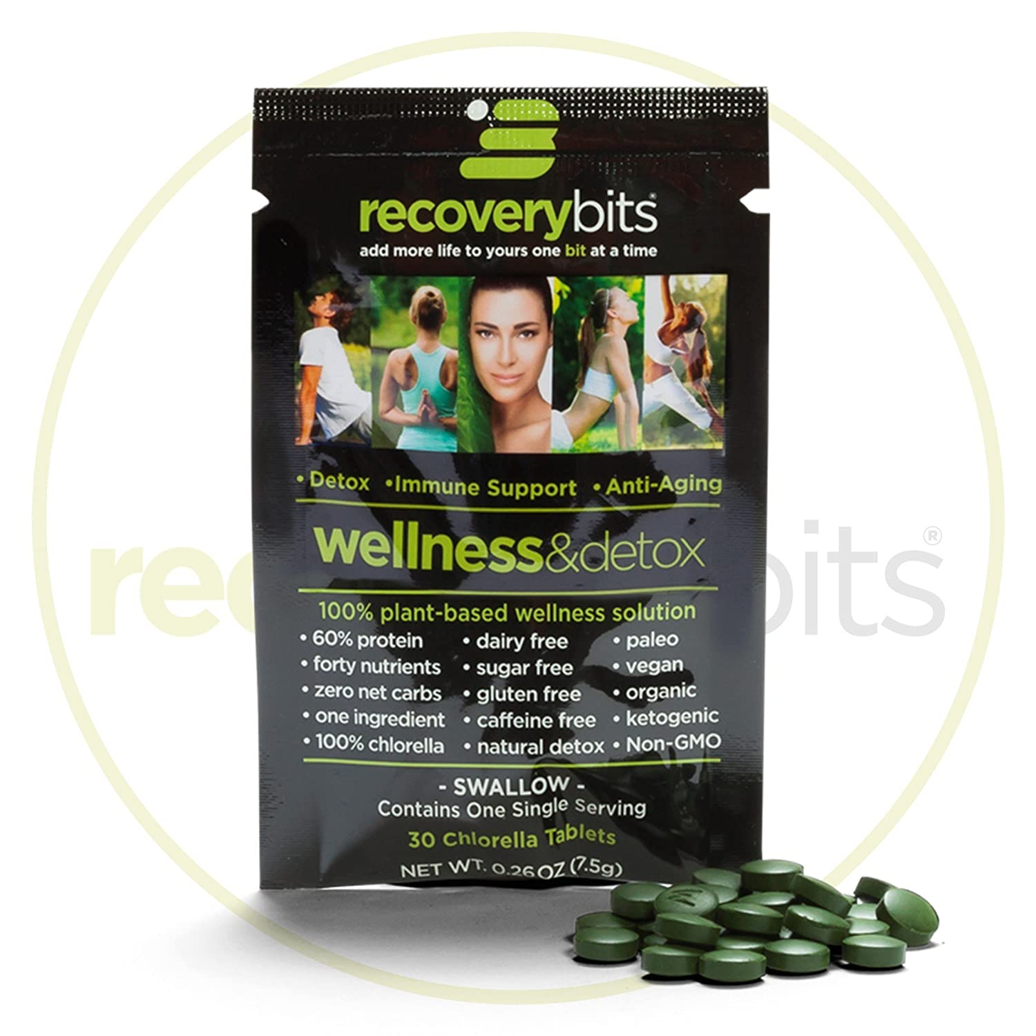 RECOVERYbits Pure Organic Chlorella Tablets Box of 30 Single Servings 7500mg per serving Cracked Cell Wall, Non-GMO, Non-Irradiated, Raw, Green Algae Keto, Paleo, Vegan Friendly
