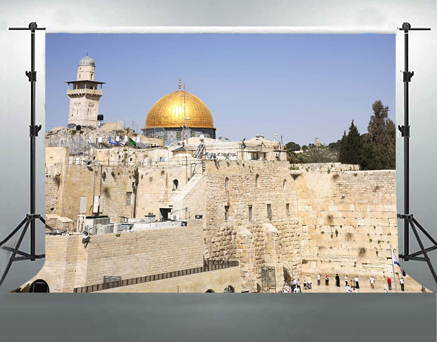 Dome of The Rock Mosque Backdrop, 7x5ft Cotton Cloth with Pole Pocket, Old City Jerusalem Israel Photography Backgrounds, Celebration Party Banner Photo Studio Props DSFS022