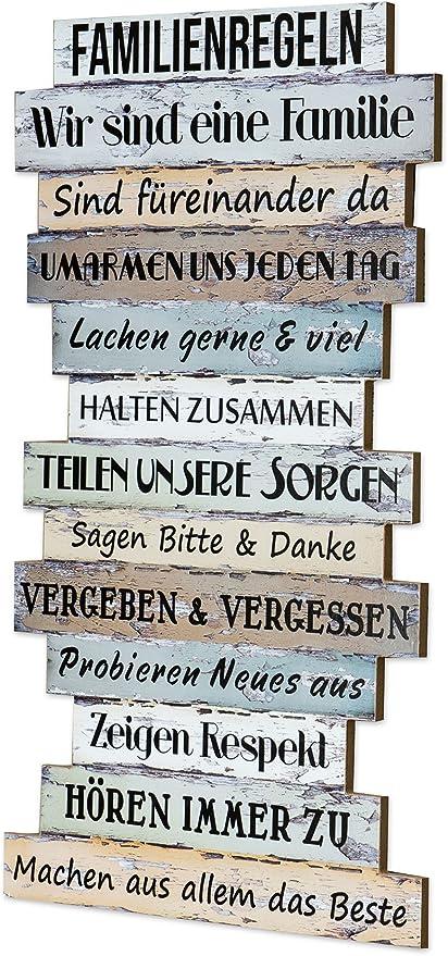 Levandeo Holzschild Holzbild Wandbild Mit Familienregeln Im Shabby Chic Stil Zum Aufhängen Bunt Familie Regeln Schild Holz Latten Dekoschild