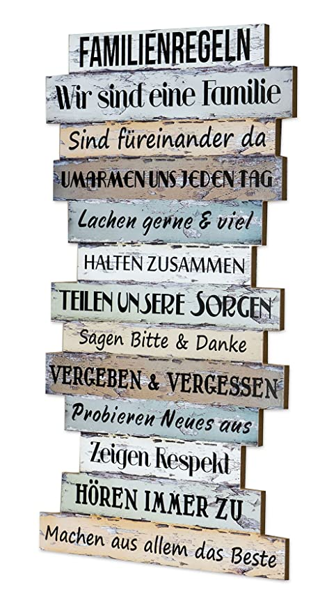 Family Rules Wall Art Print Plaque Family Rules In Shabby Chic Style  Hanging Wooden Sign U2013