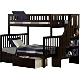 Woodland Staircase Bunk Bed with Urban Bed Drawers, Antique Walnut, Twin OverFull