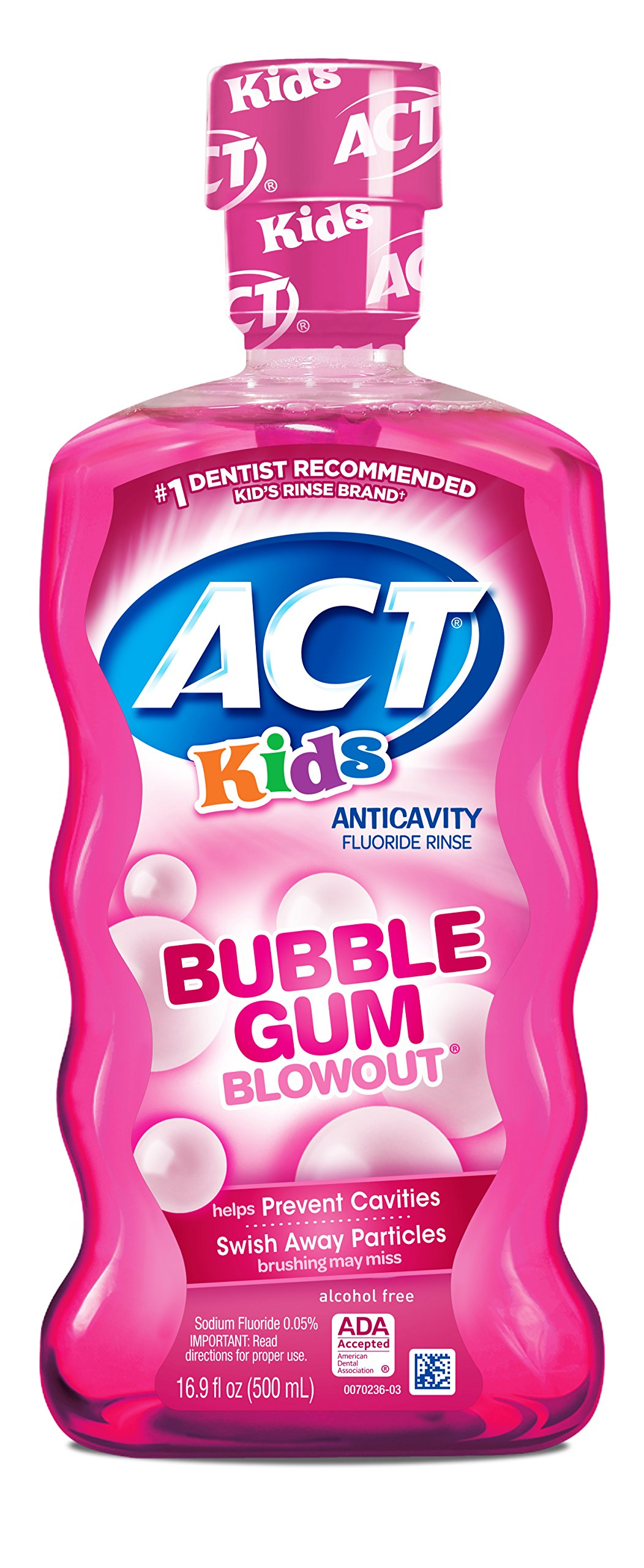 ACT Kids Anti-Cavity Fluoride Rinse Bubblegum Blowout  Children's Mouthwash with Fluoride & Exact Dosage Meter,16.9 Fl Oz
