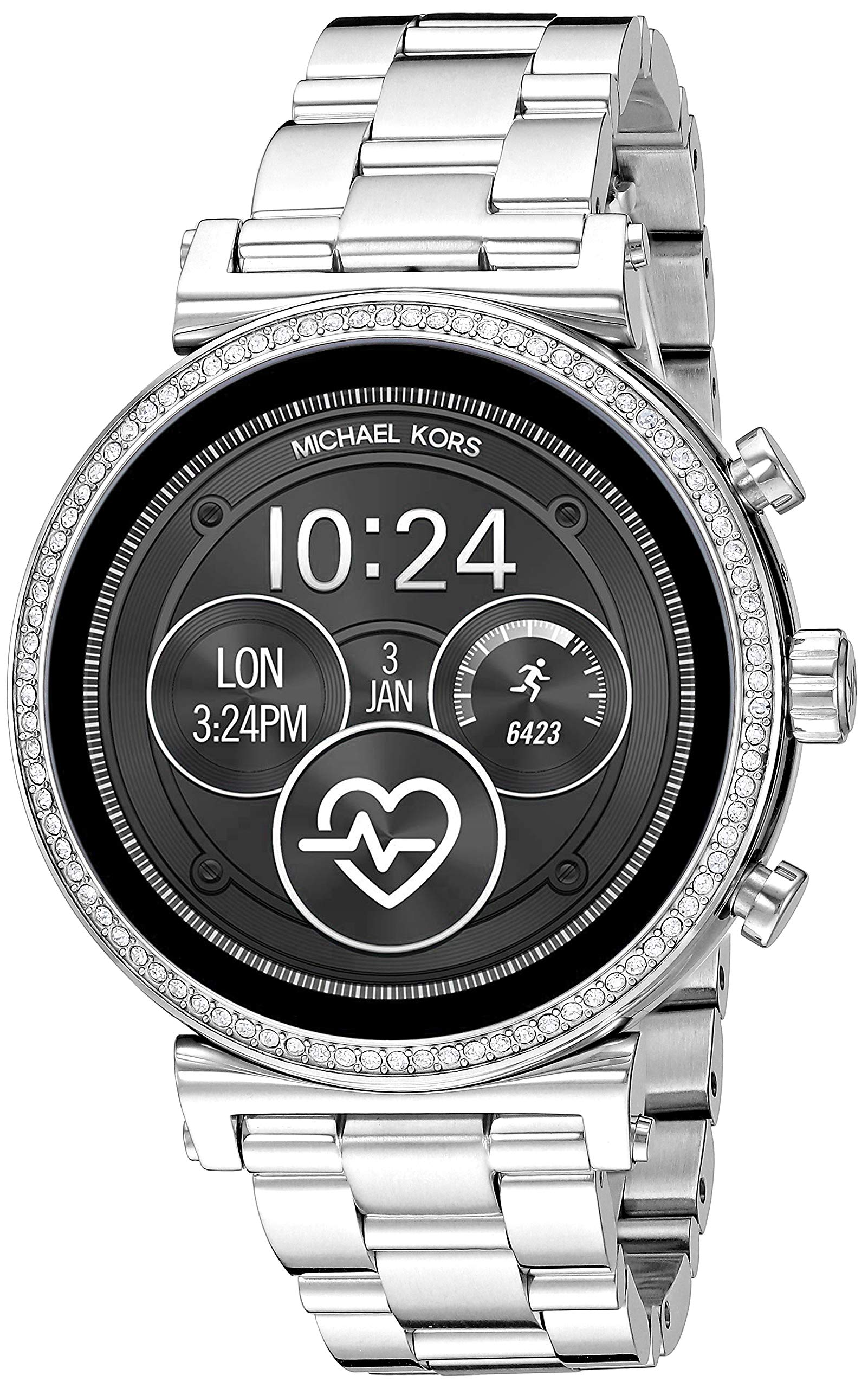 Michael Kors Access Women's Sofie Heart Rate' Touch-Screen Smartwatch with Stainless-Steel Strap, Silver, 18 (Model: MKT5061) by Michael Kors