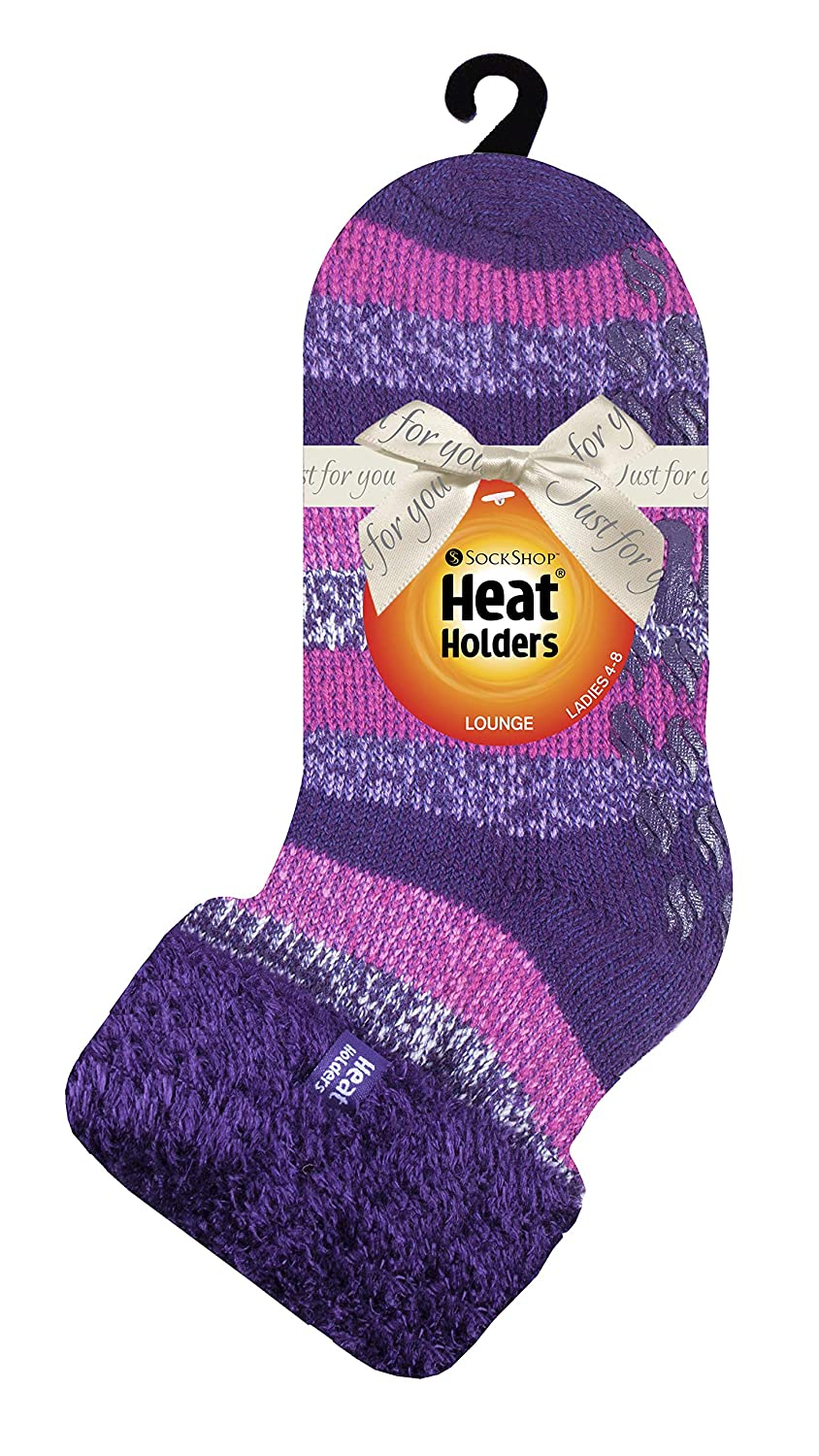 Heat Holders HHL15 Ladies Extra Soft Fluffy Non Slip Thermal Low Cut Ankle Slipper Lounge Bed Socks with Grips