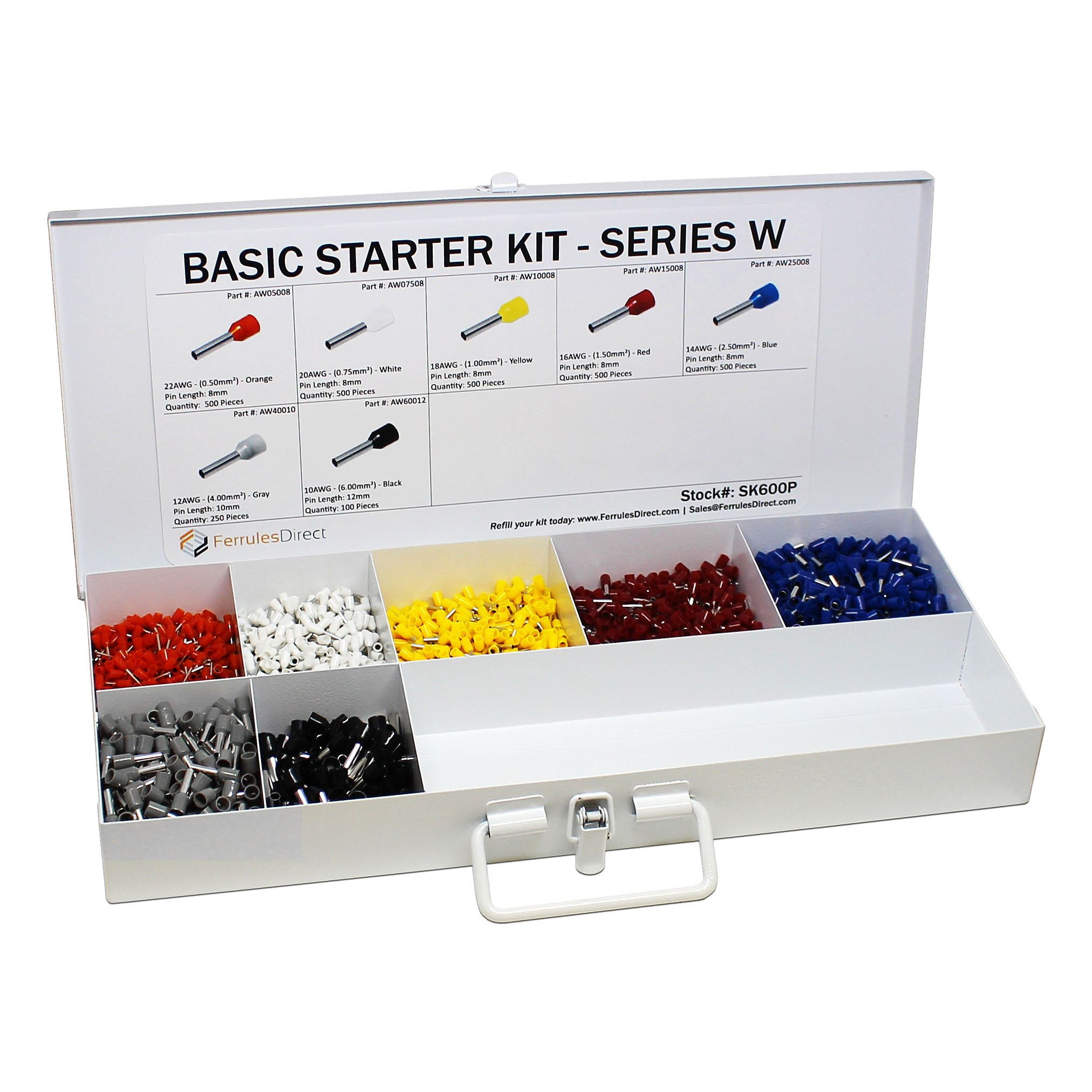 2850 Piece Wire Ferrules Starter Kit without Self Adjusting Tool-22 AWG to 10 AWG Insulated Connectors-SK600P