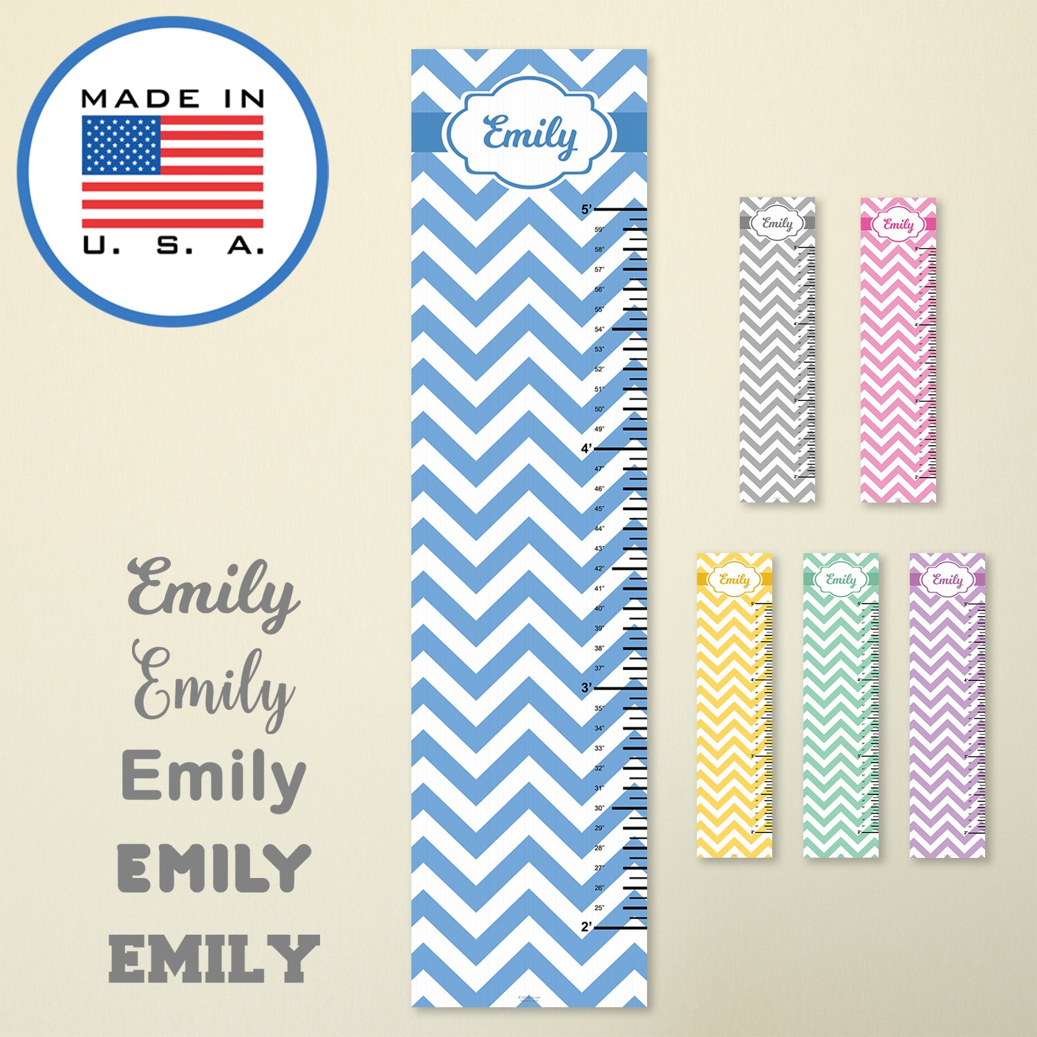 321Done Personalized Hanging Growth Chart, Blue Chevron with Name, Height Ruler Measurement, Vinyl Banner Nursery Wall Decor Baby, Made in USA
