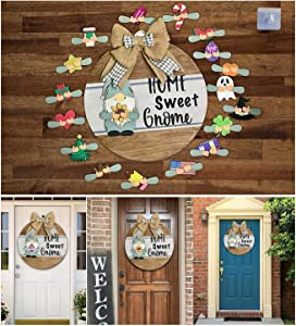 MIKITA Gnome Door Hanger, Welcome Sign in Front for Door, Interchangeable Holiday Parts, Round Wooden Handmade for Home Decor Gifts(Home Sweet Gnome Sign)