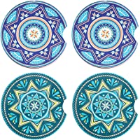 Cuckoo Car Coasters for Cup Holders, 2.56 in Fingertip Grip Design Mandala Ceramic Drink Coasters Set of 4 - Strong…