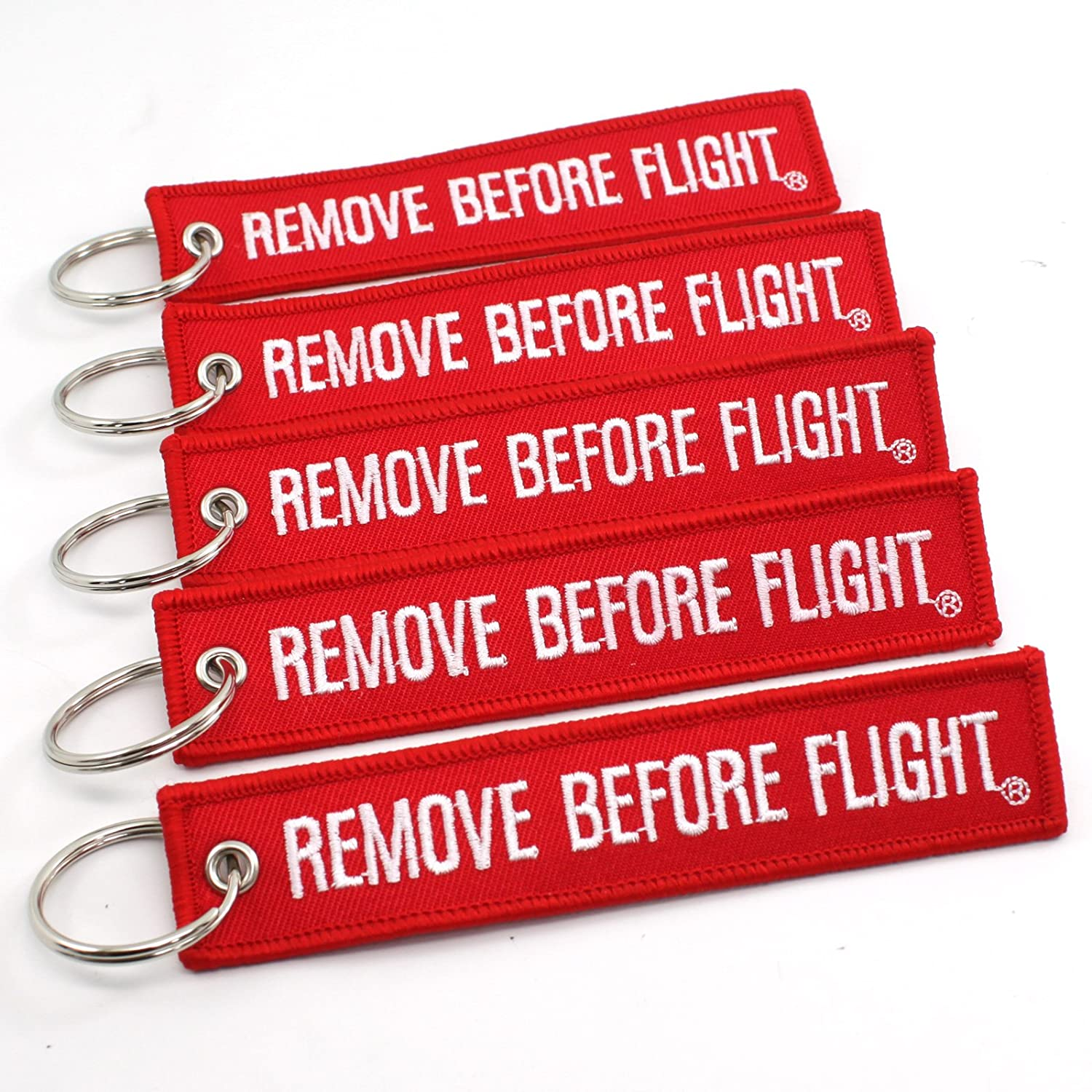 Remove Before Flight Key Chain - 5 Pack Red with White Letters - Rotary13B1: Automotive