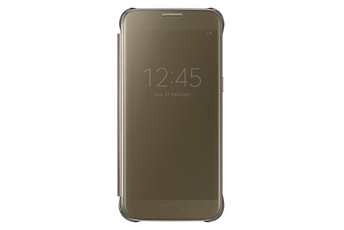 2918bf6d80b Amazon.com: Samsung Galaxy S7 Case S-View Clear Flip Cover - Gold ...
