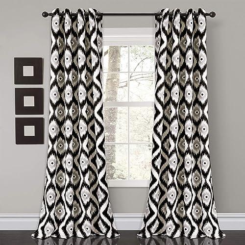 Lush Decor Diamond Ikat Room Darkening Window Curtain Panel Pair, 84 x 52 , Black