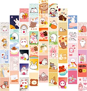 FOLDEP 50PCS Kawaii Wall Collage Kit Teen Girls Room Decor- Pastel Pictures for Aesthetic Poster Wall Art Bedroom Soft Colors Bear Wall Collage Kit Postcards Set 4x6 inch
