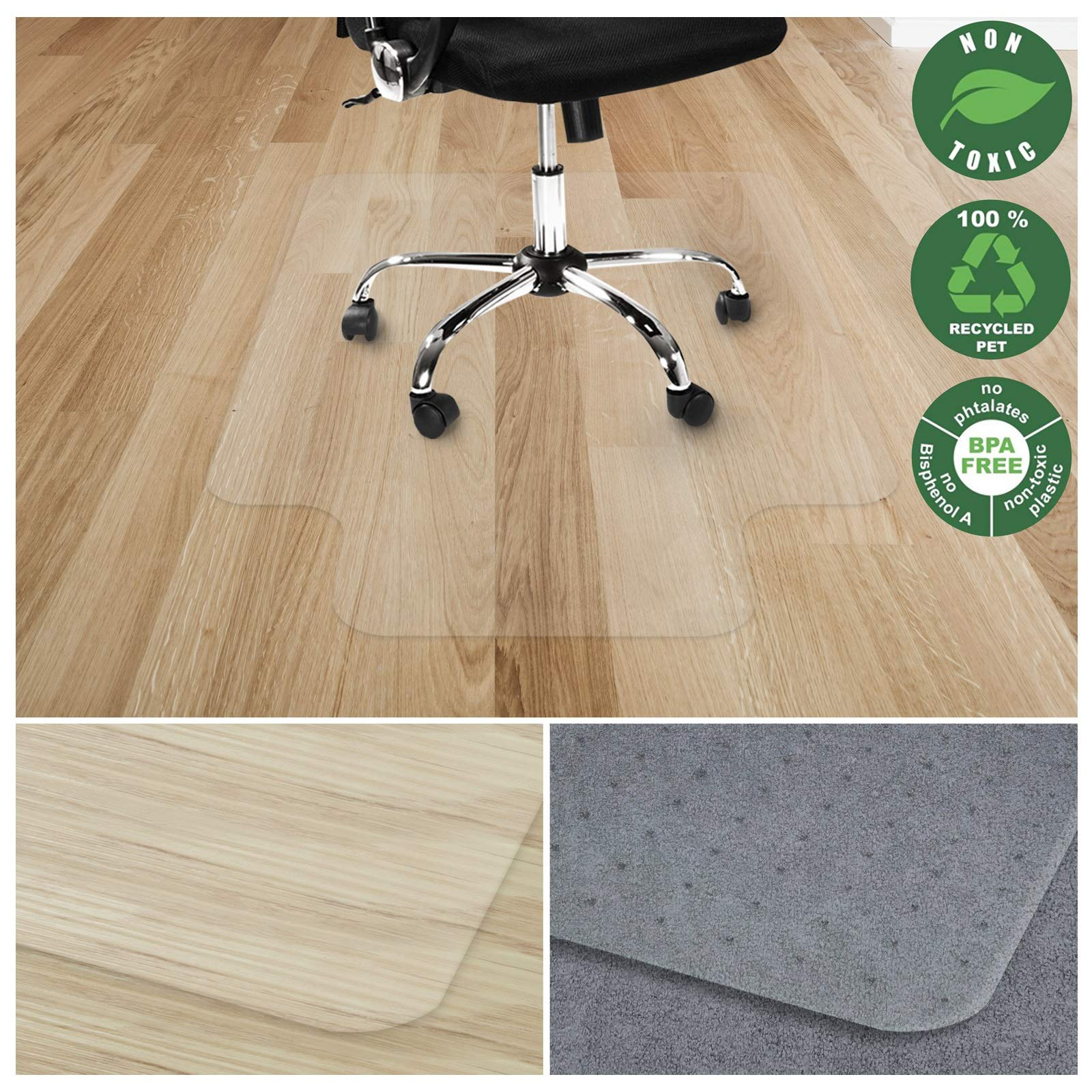Office Marshal Chair Mat with Lip for Hard Floors   Eco-Friendly Series Chair Floor Protector   100% Recycled (PET) Floor Mat for Office or Home Use   Multiple Sizes   Translucent - 48'' x 53''