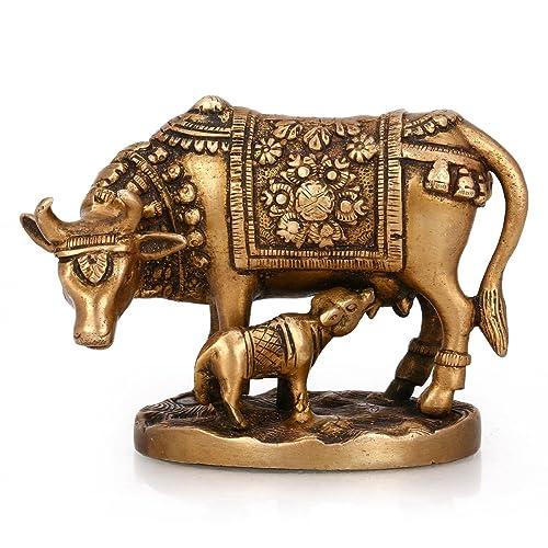 Purpledip Brass Statue Kamdhenu Cow With Calf