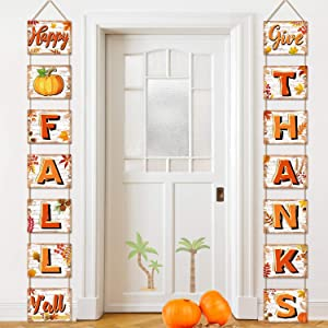 Happy Fall Decorations Banner Fall Signs Cutouts Thanksgiving and Harvest Blessings for Home and Autumn Party Decor Indoor Outdoor(Happy Fall)