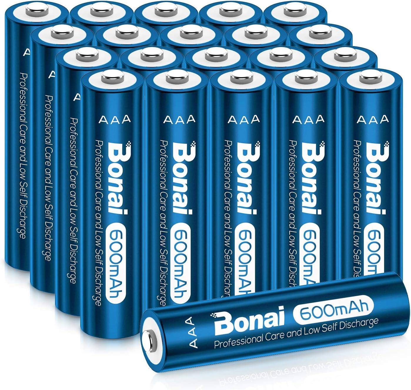 BONAI AAA Rechargeable Batteries 1.2V 600mAh Triple AAA NiMH Battery Solar Batteries for Solar Garden Lights for Solar Lights, Garden Lights, Solar Lamp Anti-Leak (AAA 20 Pack)