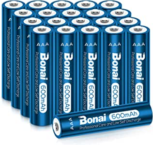 BONAI AAA Rechargeable Batteries 1.2V 600mAh Triple AAA NiMH Battery Solar Batteries for Solar Garden Lights for Solar Lights, Garden Lights, Solar Lamp Anti-Leak (AAA 20 Pack)