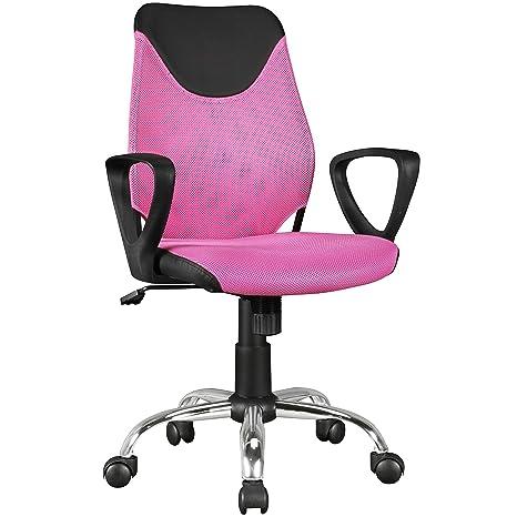 FineBuy Kinder-Schreibtischstuhl Kim Schwarz Pink für Kinder ab 6 mit Lehne  | Kinder-Drehstuhl Kinder-Bürostuhl ergonomisch | Jugendstuhl ...