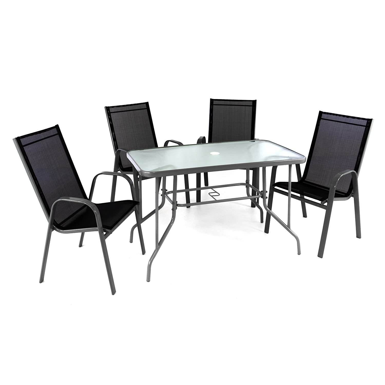 5er set sitzgarnitur sitzgruppe gartengarnitur glastisch eckig stapelstuhl schwarz glasplatte. Black Bedroom Furniture Sets. Home Design Ideas
