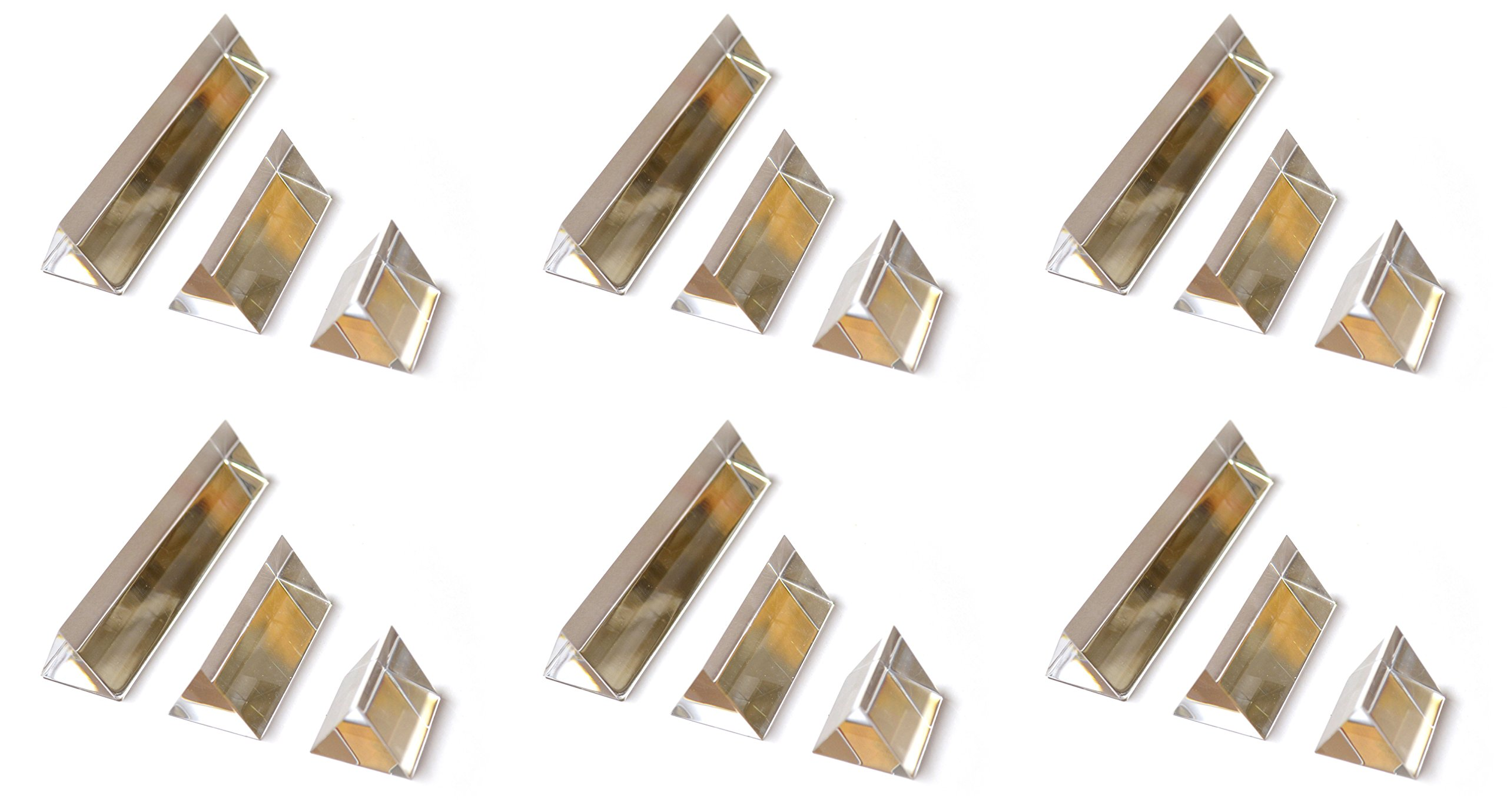 Classroom Set of Prisms - 6 Sets of (3) Equilateral Acrylic Prisms with 1in. Sides - 1in, 2in, 4in Lengths