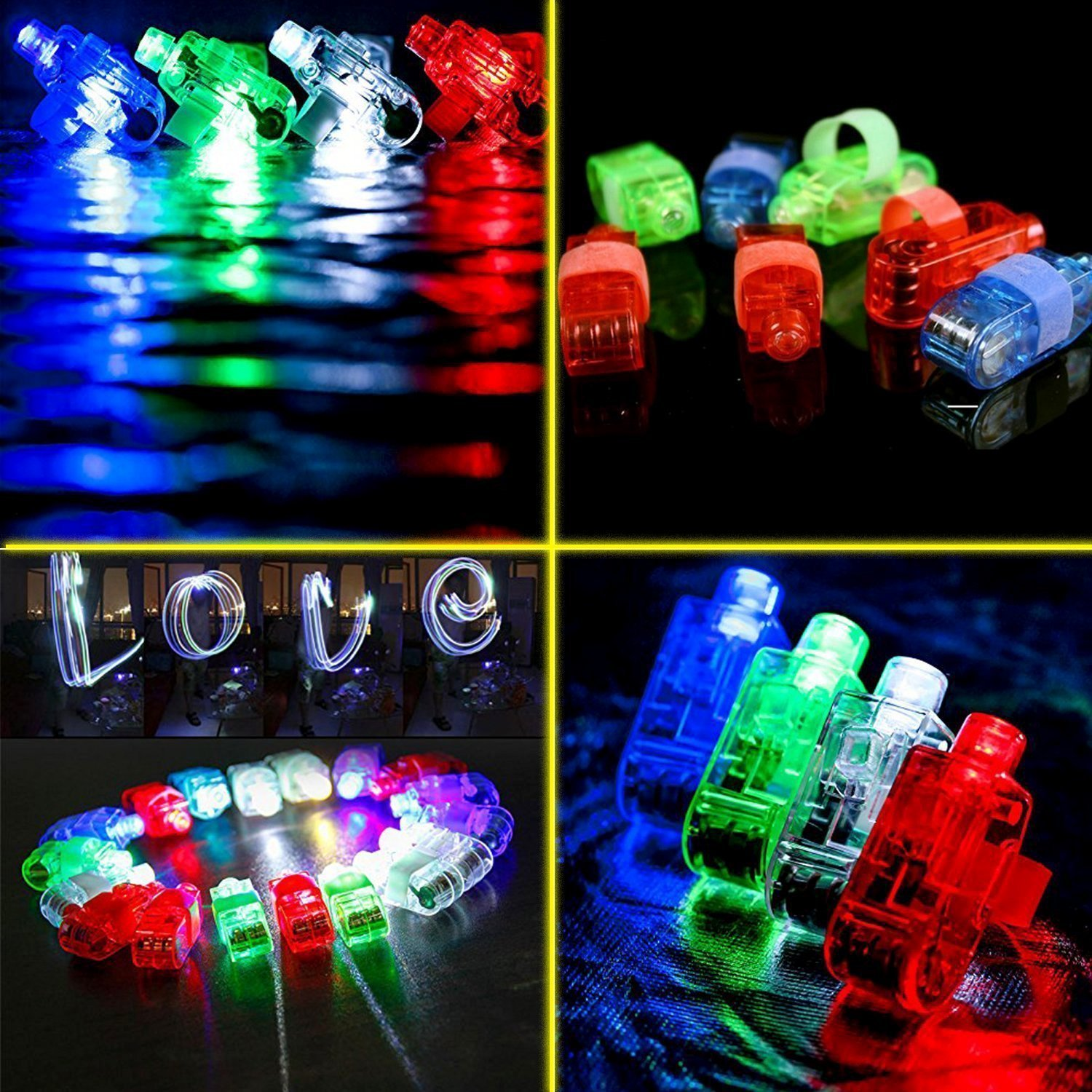 68 Pack LED Light Up Toys Halloween LED Glow Party Favors for Kids Glow in the Dark Party Supplies 4 Flashing Slotted Shades Glasses 10 Glow Rings 50 LED Finger Lights 5 LED Bracelets Christmas Gift by Godlike (Image #3)
