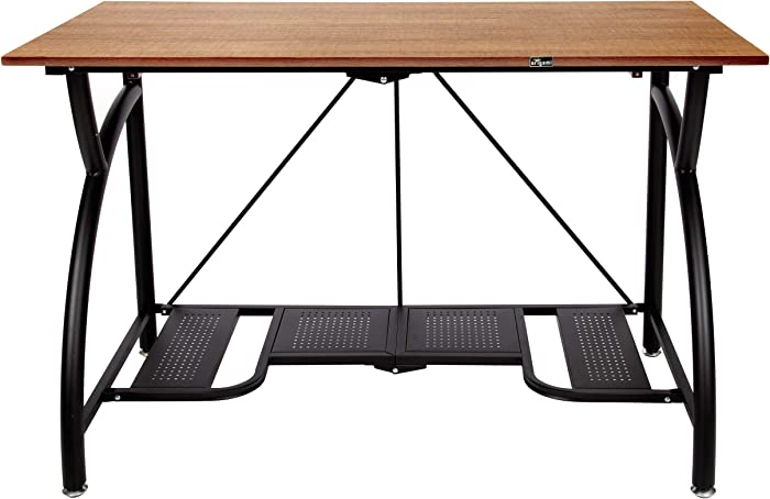 Origami Folding Computer Desk for Office Study Students Bedroom Home Gaming and Craft | Space Saving Foldable Design, Fits Dual Monitors and Laptop, Collapsible, No Assembly Required | (Wood, Large)