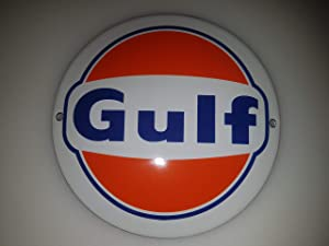 Classic Gulf Porcelain Enamel Door Sign EMAILLE! 4 INCH = 12cm! Weight 0.22lb!! Replica!