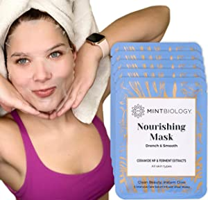 Korean Face Sheet Mask – Moisturizing Face Mask Beauty – 5 Facial Mask Sheets for Women infused w/Anti Aging Hydrating Hyaluronic Acid Ceramide for Clear Dewy Complexion by MINTBIOLOGY
