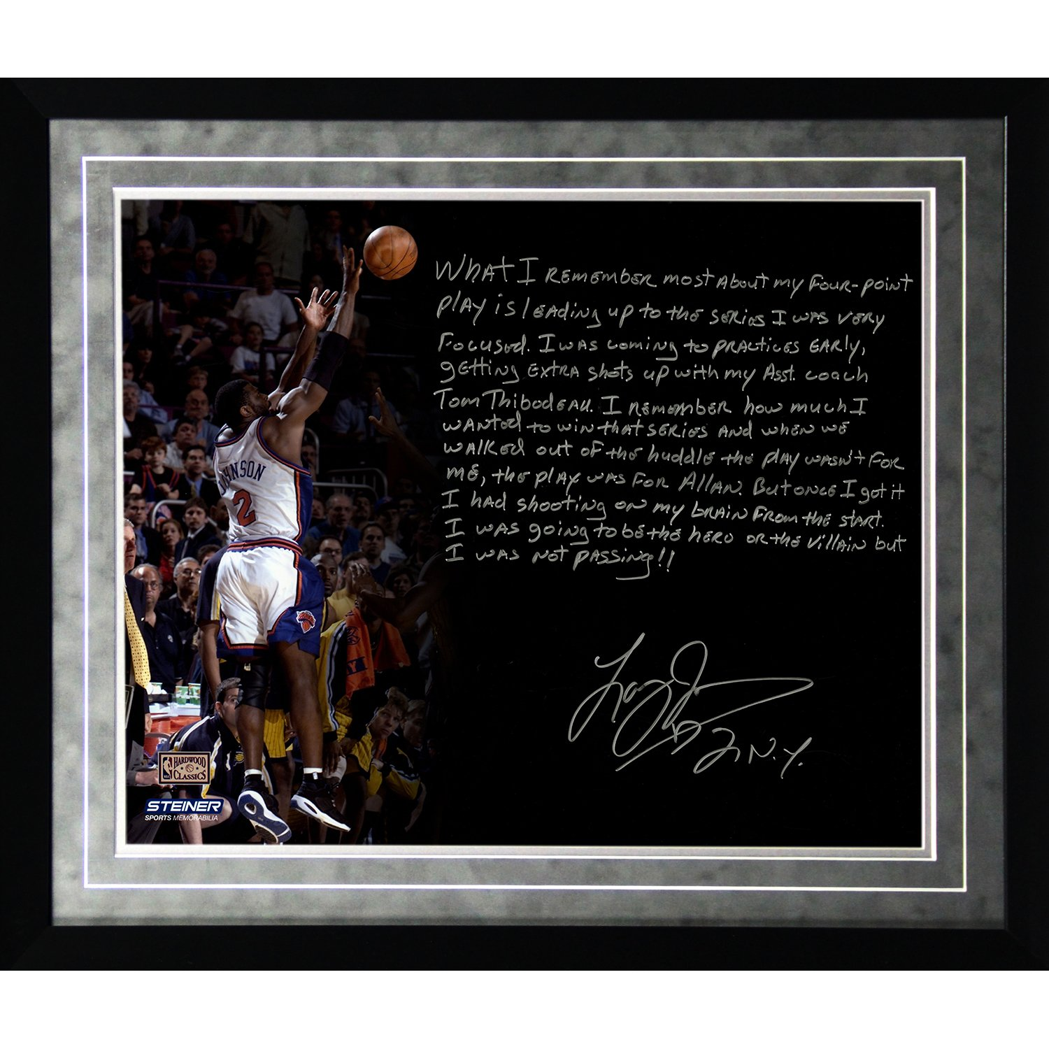 NBA New York Knicks Framed 16x20 Larry Johnson Facsimile '4 Point Play' Story Photo by Steiner Sports