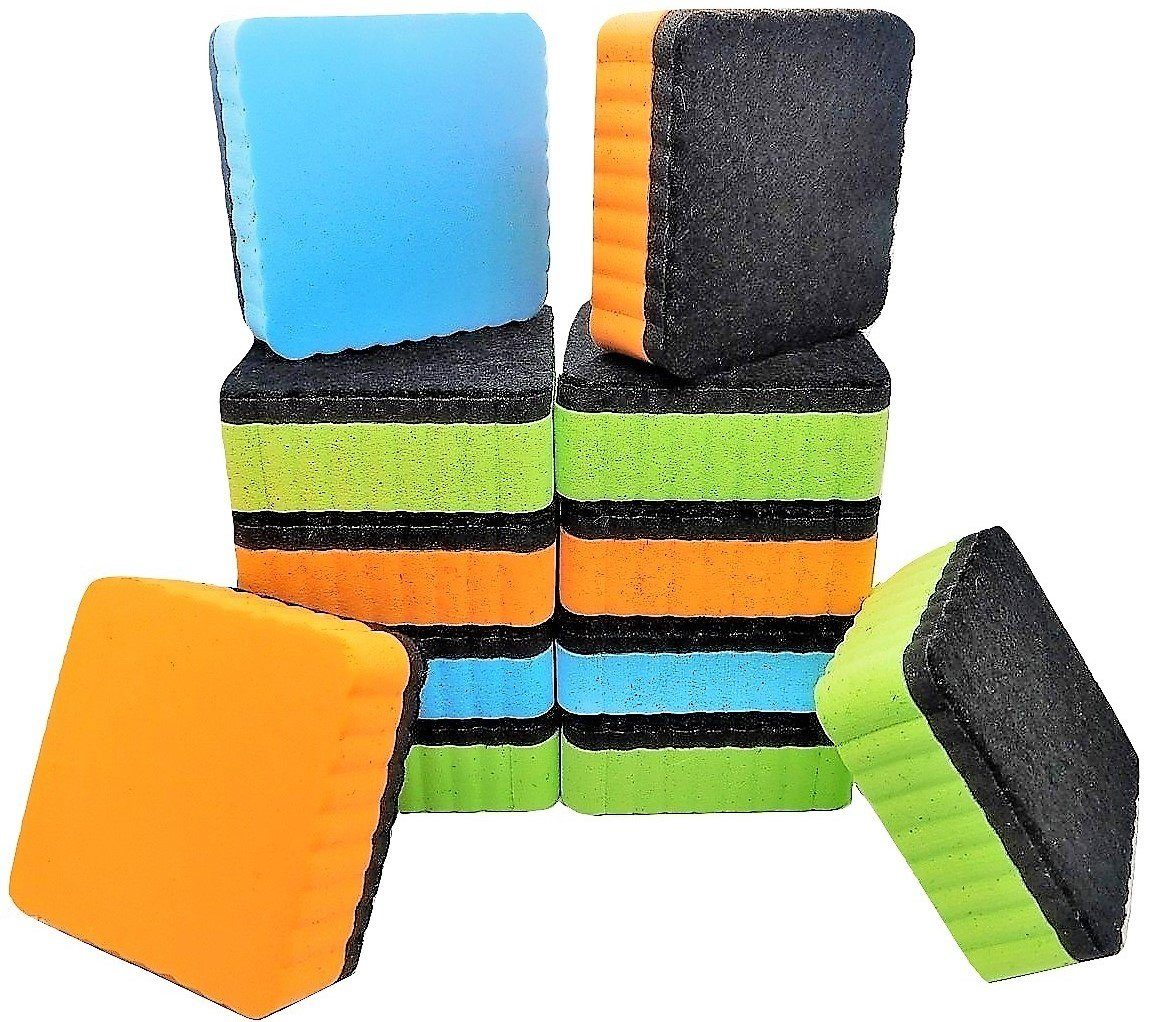 12-Pack of Premium Magnetic Dry Erase Erasers | Divine Kinetics | Magnetic Whiteboard Erasers | Colorful Variety Pack | Perfect Erasers for the Classroom, Home or Office!