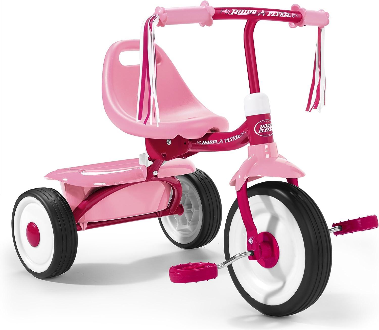 Radio Flyer- Triciclo plegabe, Color rosa (415PA)