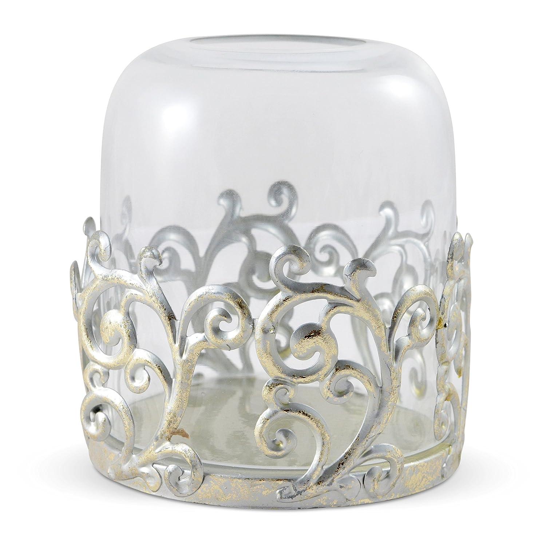Kerzenhalter Metall Kammerleuchter silber Herz Shabby Chic Landhaus Deko Vintage