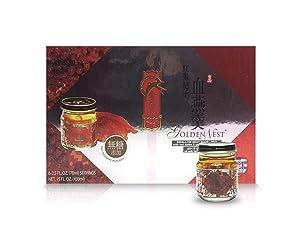 Golden Nest Premium Bird Nest Soup, Swallow Bird Nest 100% Natural - Made in USA, (燕窩) 6 bottles x 75ml (2.5 oz.) - (Red Dates and Goji Berries)