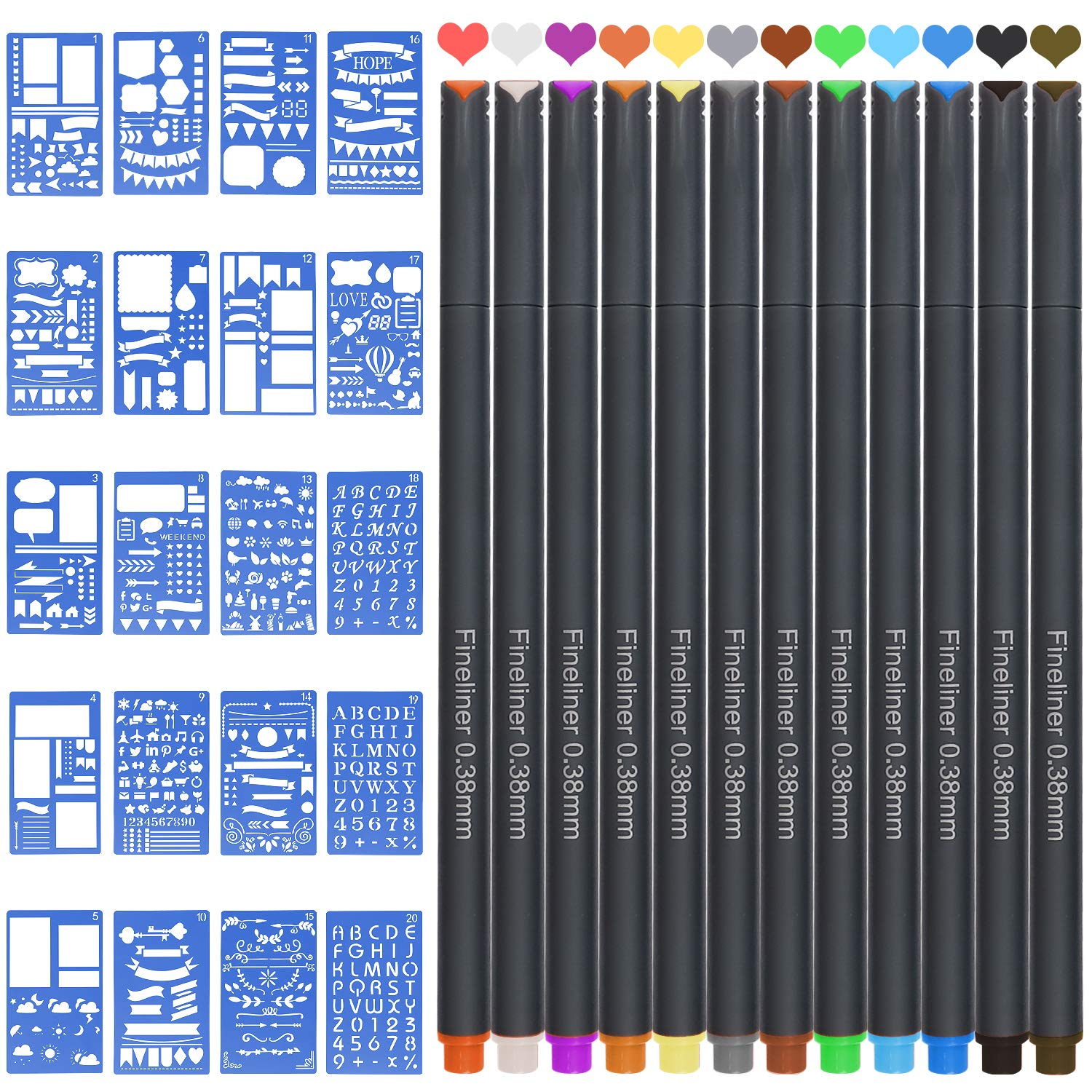 JARLINK Bullet Journal Stencil Kit 12 Colored Pens and 20 Stencils, Plastic Planner Bullet Journal Notebook Diary Scrapbook Supplies 4x7 inches DIY Drawing Templates