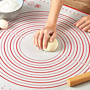 """Pastry Mat for Rolling Dough, WeGuard 24""""x20"""" Extra-large Silicone Pastry Kneading Mat Board with Measurements Marking BPA Free Food Grade Non-stick Non-slip Rolling Dough Baking Mat"""