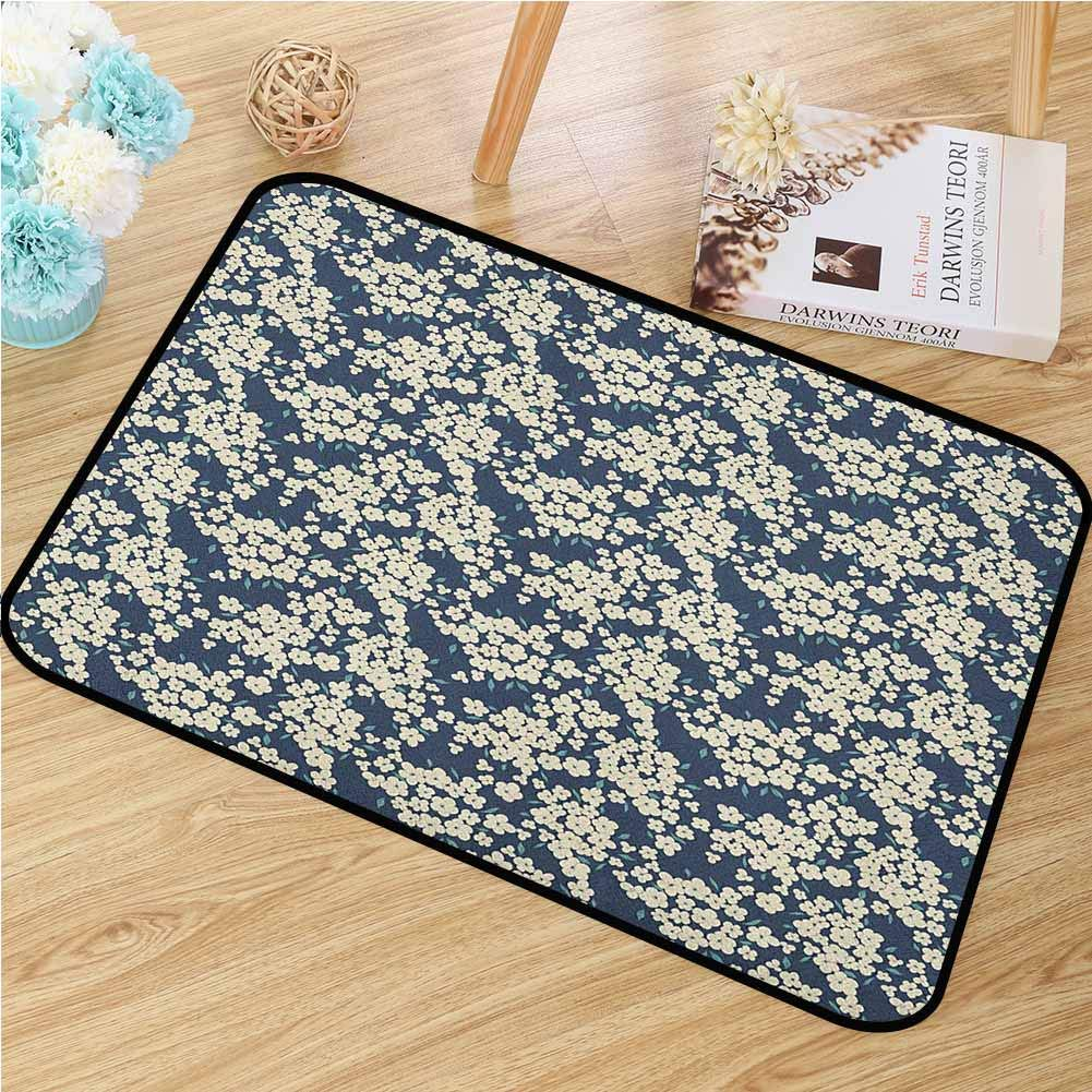 Floral Welcome Door mat Vibrant Little Blossoms Flourishing Garden Feminine Lovely Flora Graphic Art Door mat is odorless and Durable W35.4 x L47.2 Inch Night Blue Ivory
