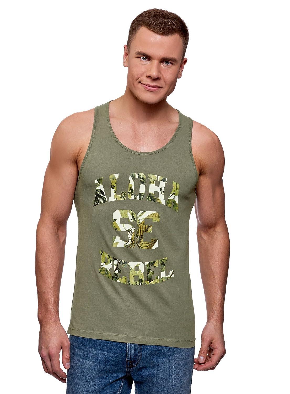 oodji Ultra Hombre Camiseta de Tirantes de Algod/ón con Estampado