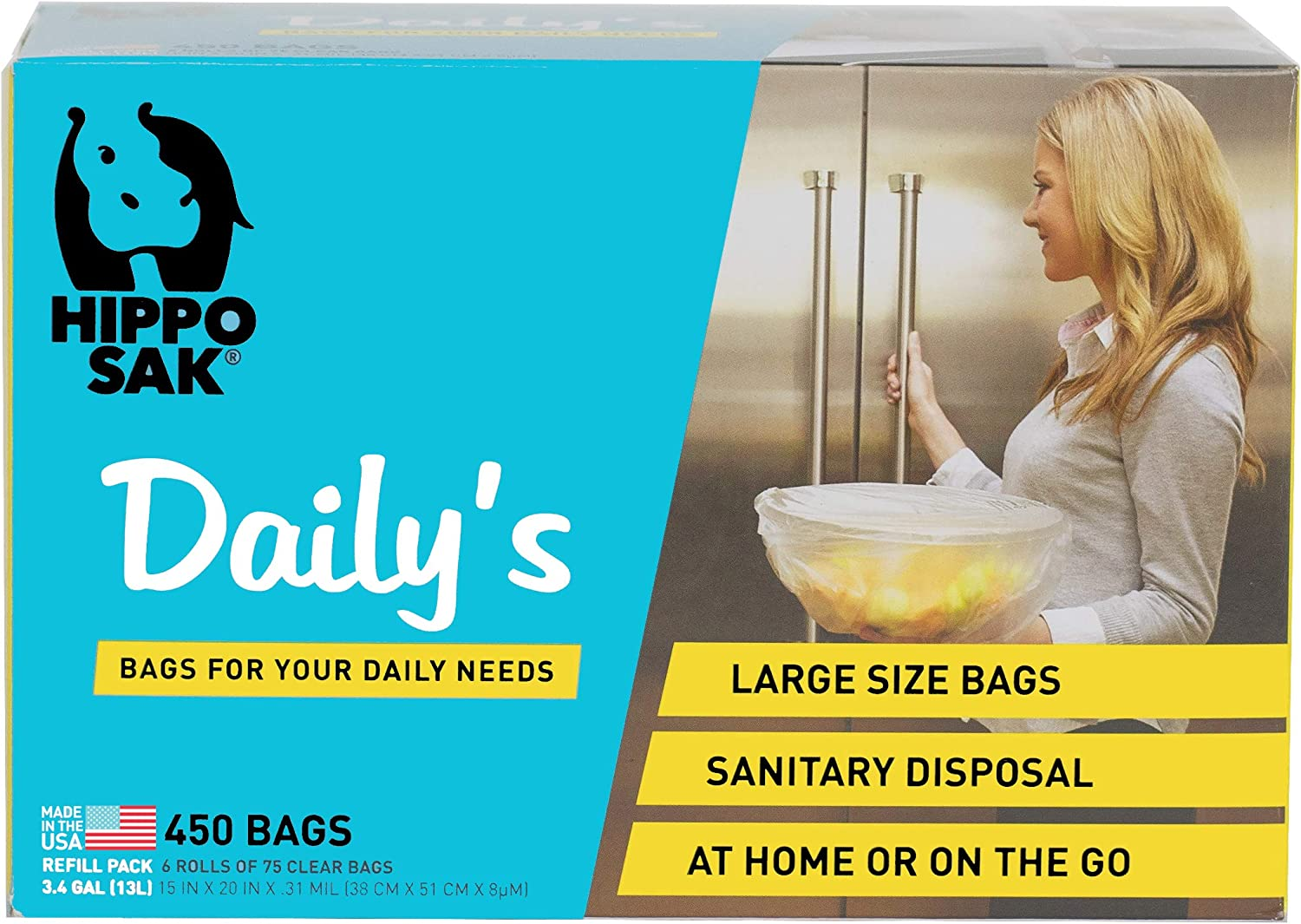 Hippo Sak Daily's Storage and Disposal Bags Refill (450 Count), Clear Bags
