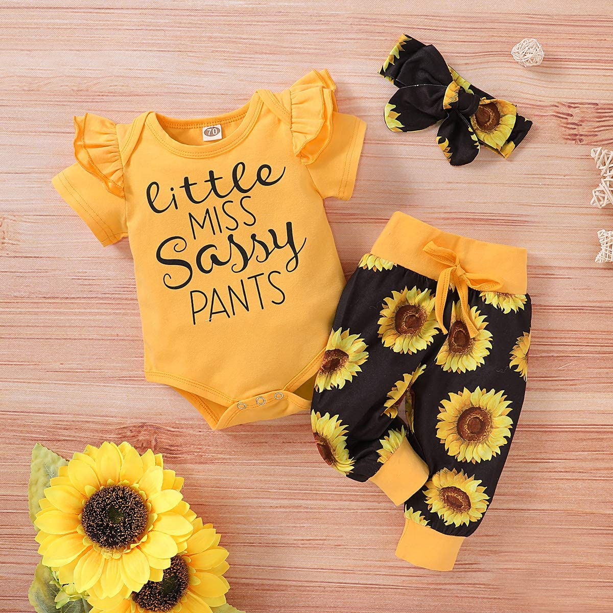 Headband 3Pcs Girls Clothing Set Sunflower Print Pants DaMohony Toddler Baby Girl Clothes Outfits Short Sleeve Romper
