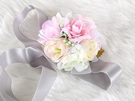 Amazon pretty bridesmaid wrist corsage rose flower wedding pretty bridesmaid wrist corsage rose flower wedding bridal pink grey mightylinksfo