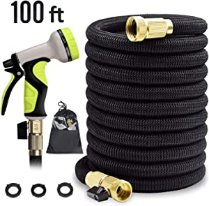 """Expandable Garden Hose 100 ft Garden Hose 100 ft Garden Hose with Triple Layer Latex Core, 3/4"""" Solid Brass Fittings, 3750 D Extra Strength Fabric 9 Function Spray Nozzle for All Your Watering Need"""