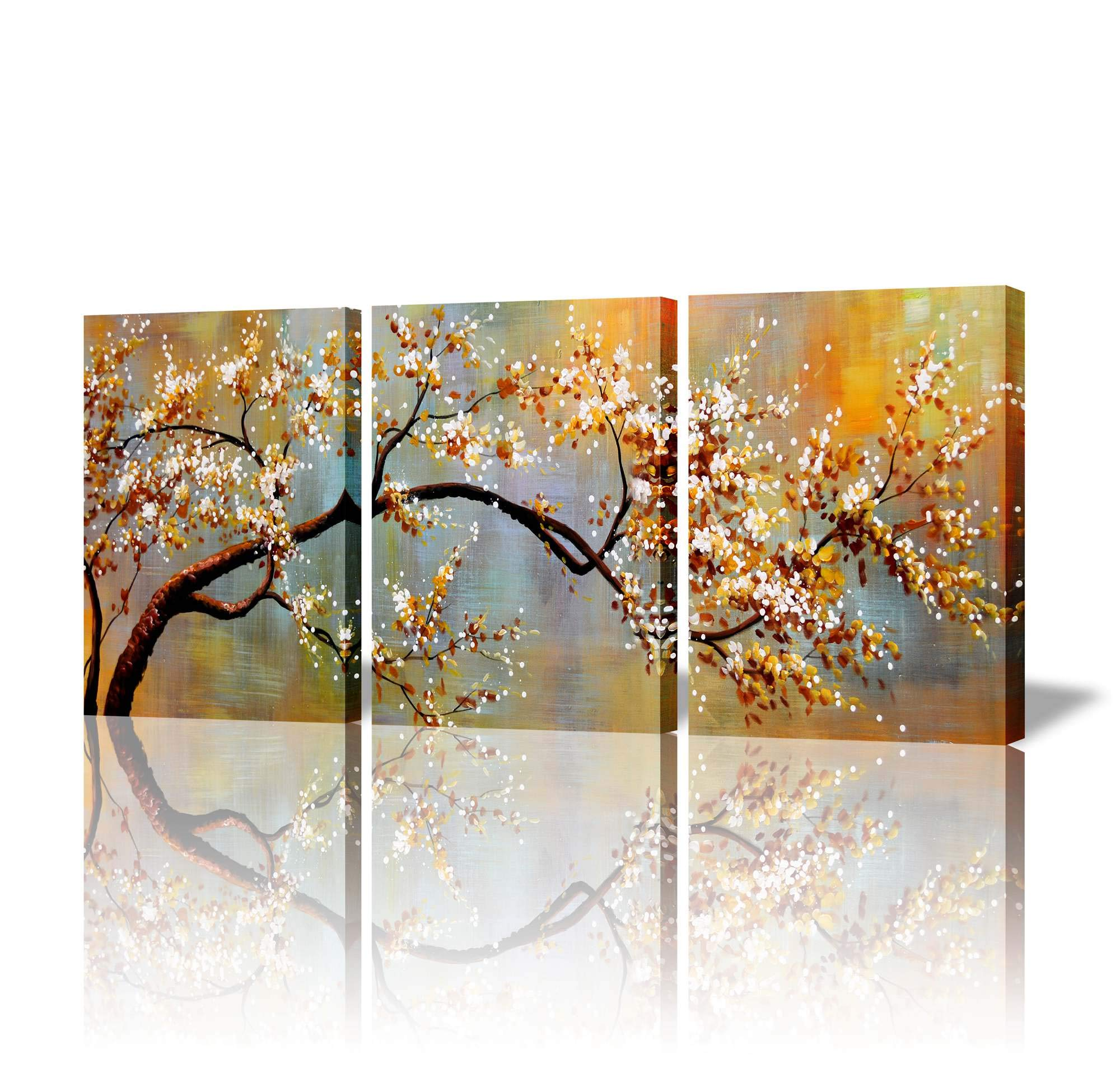 ARTLAND Canvas Wall Art Pictures Decor Ready to Hang Floral Artwork for Walls Home Decorations for Living Room 'Exquisite Yellow Plum' 3 Piece Wall Artwork Framed