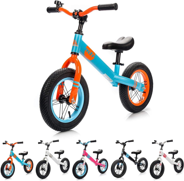 Bicicleta sin Pedales para Niños 2-6 años hasta 30 kg Ultraligera Mini Bici Bebés Infantil Andadores Bebé Equilibrio con Sillín y Manilar Regulable Ruedas bombeadas First bike (niños, azul/naranja): Amazon.es: Juguetes y