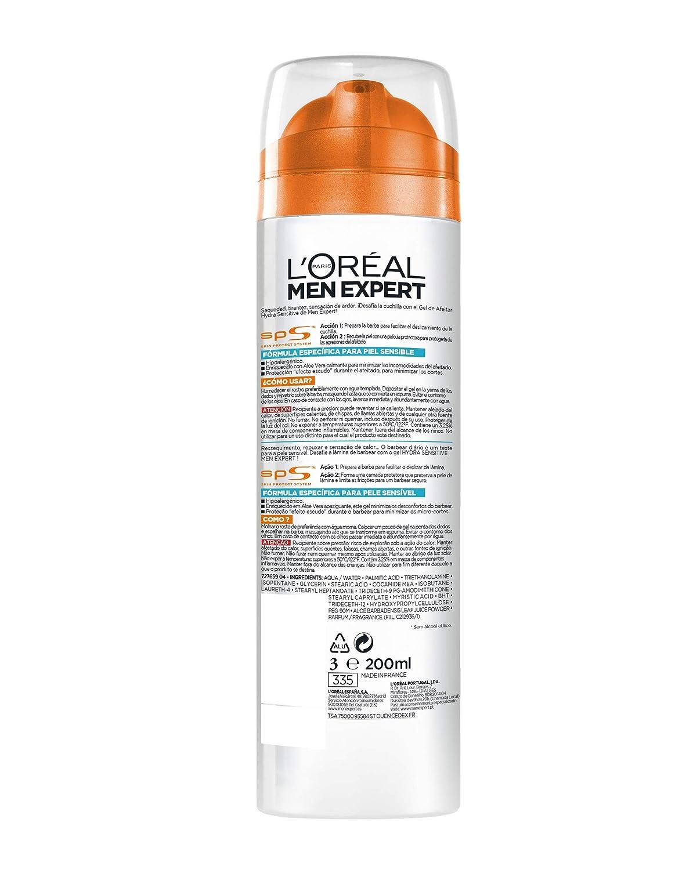LOréal Paris Men Expert Tratamiento Men Expert Gel de Afeitado Piel Sensible - 200 ml: Amazon.es: Belleza